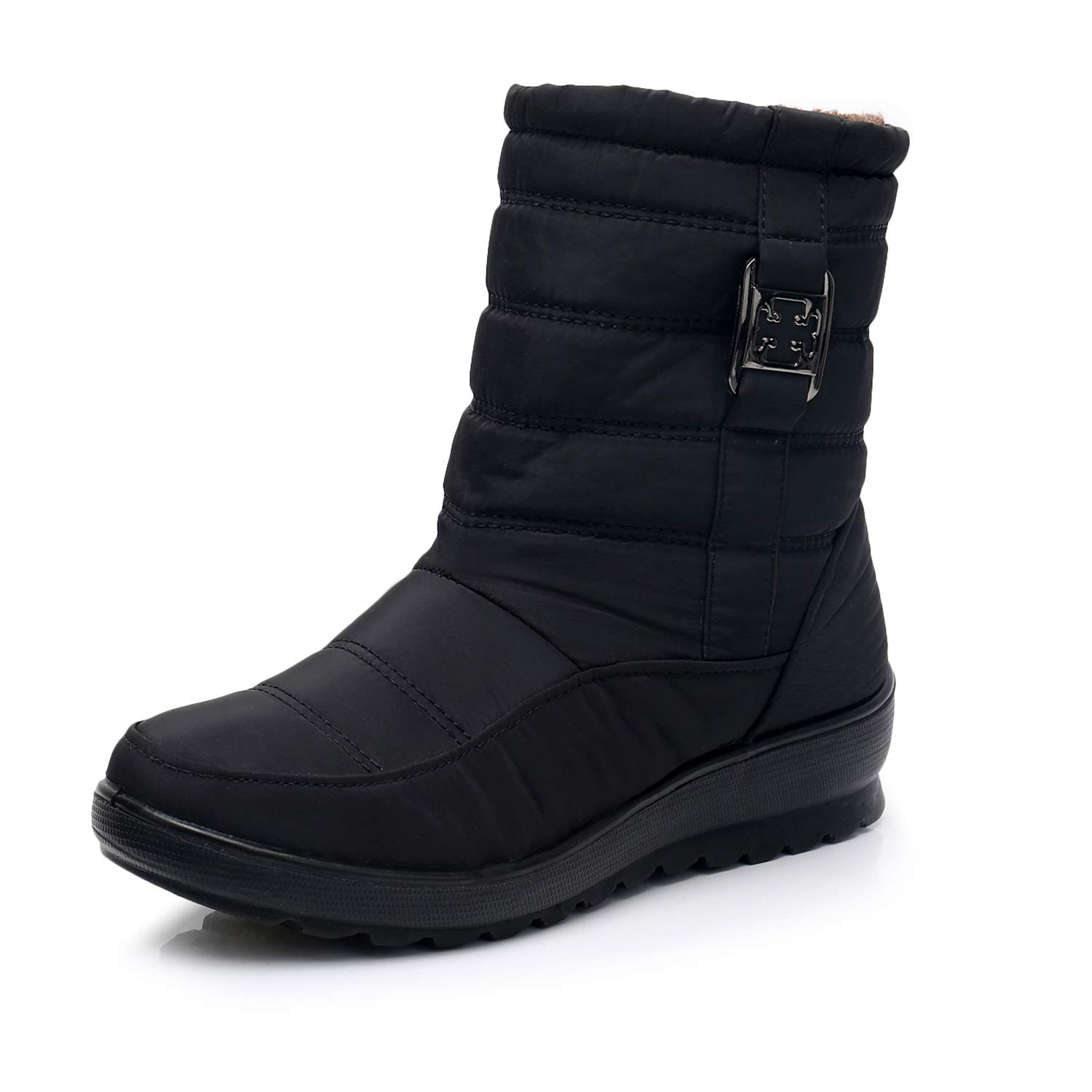 066b837b5c0 HAINE Snow Boots Womens Winter Fur Lined Waterproof Warm Boots Outdoor  Walking Non-Slip Shoes with High Traction Sole