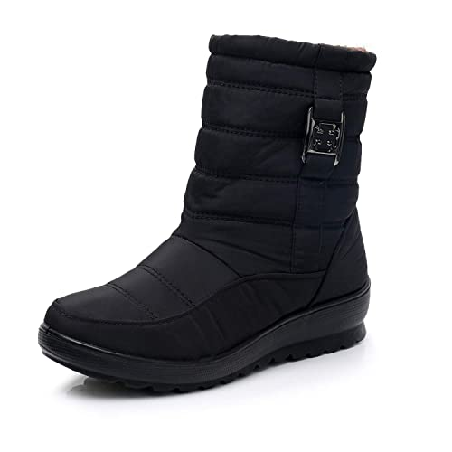 551d81ff45c HAINE Shoes for Womens Waterproof Snow Boots Bread Winter Warm Flat Boots  Black Size 2 UK