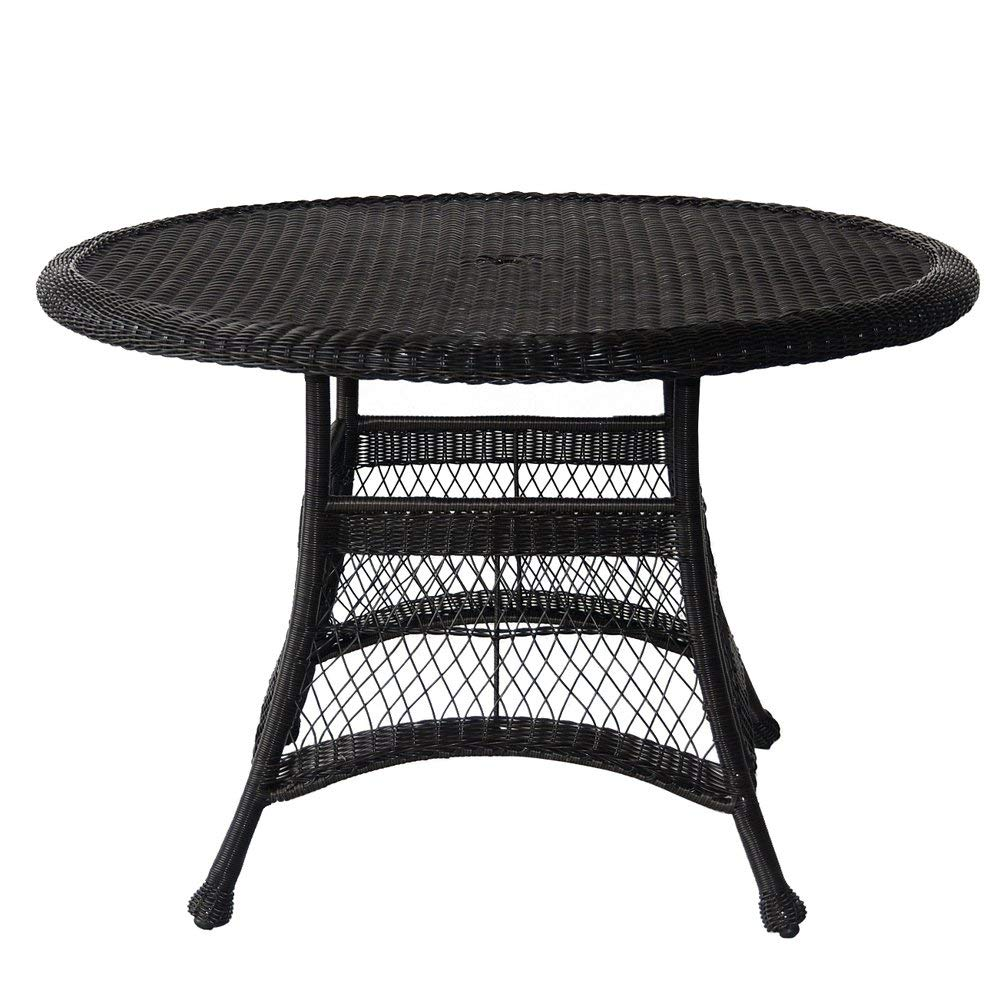 """Jeco W00207D-D Wicker Round Dining Table, 44"""", Black"""
