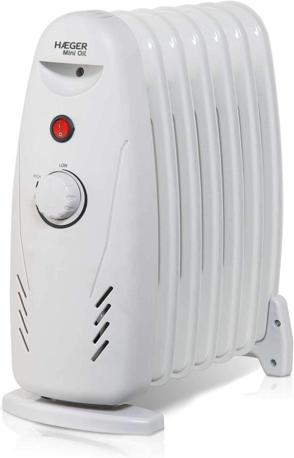 HAEGER Mini Oil - Radiador eléctrico de Aceite (7 Finos) de 600 W, con 7 Elementos (125 x 320mm), botón de Encendido/Apagado y termostato Regulable.