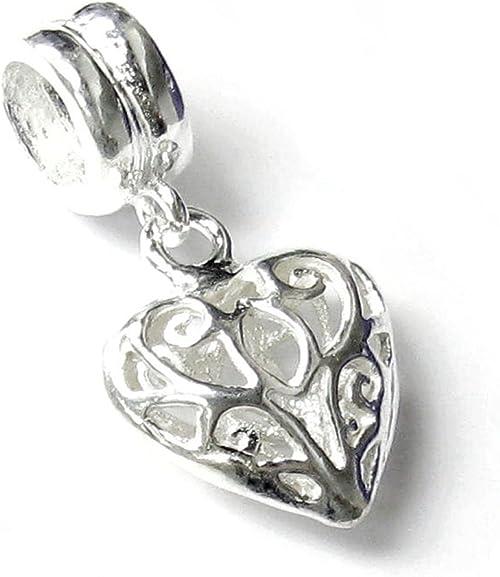 Sterling Silver Love in Heart Dangle Bead Charm