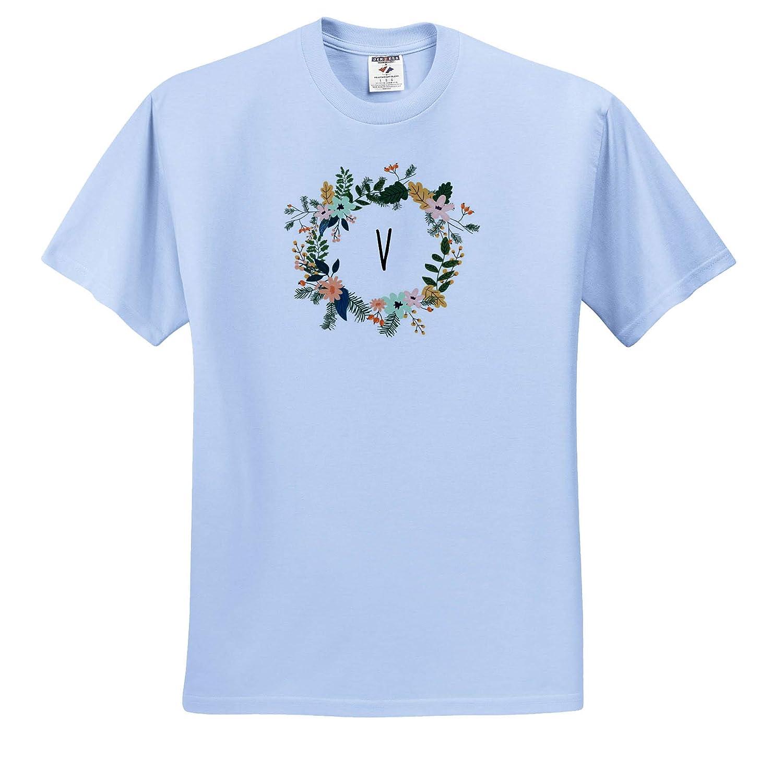 Image of V Floral Monogram 3dRose Gabriella B Quote T-Shirts
