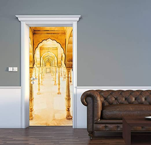 Amazon Com Acechic Door Decal Amber Jaipur India Arched Corridor 3d Door Sticker Removable Self Adhesive Vintage Wall Decal Mural Wallpaper For Home Decor 30 3 W X 78 7 H Home Kitchen