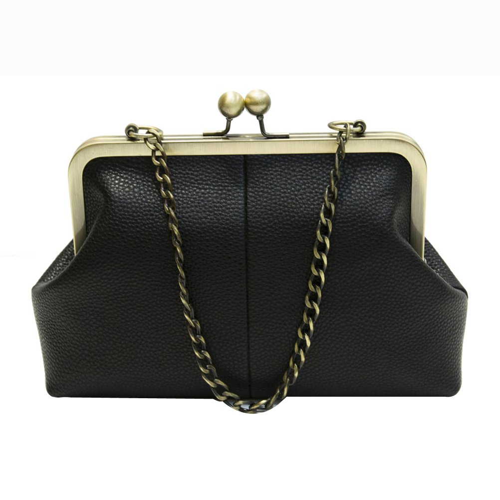 Donalworld Women Small Retro Kisslock Handbag Chain Strap Pu Wallet A