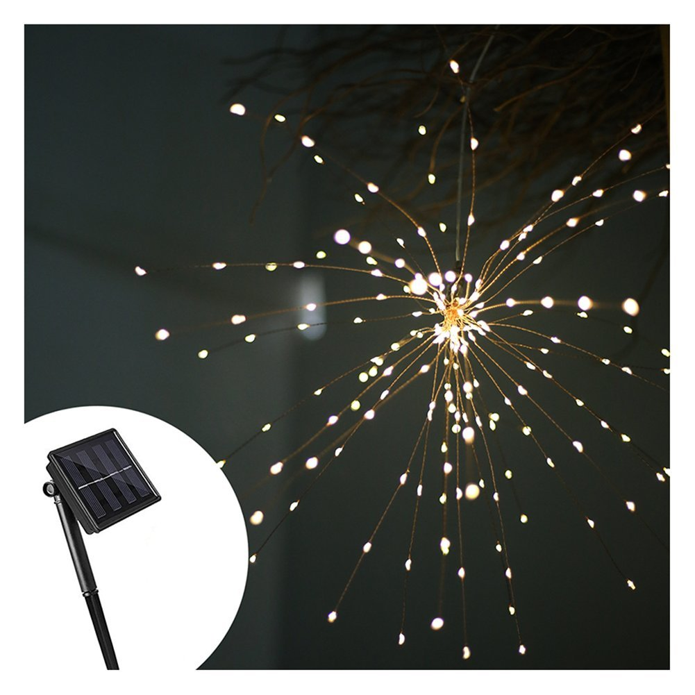 J YJ Solar Lights Outdoor, 200 LEDs Bouquet Shape Starburst Lights, Indoor/Outdoor Waterproof Solar Hanging Lights Decoration for Garden, Patio, Room, Wedding, Party, Banquet, Festive (Warm White)