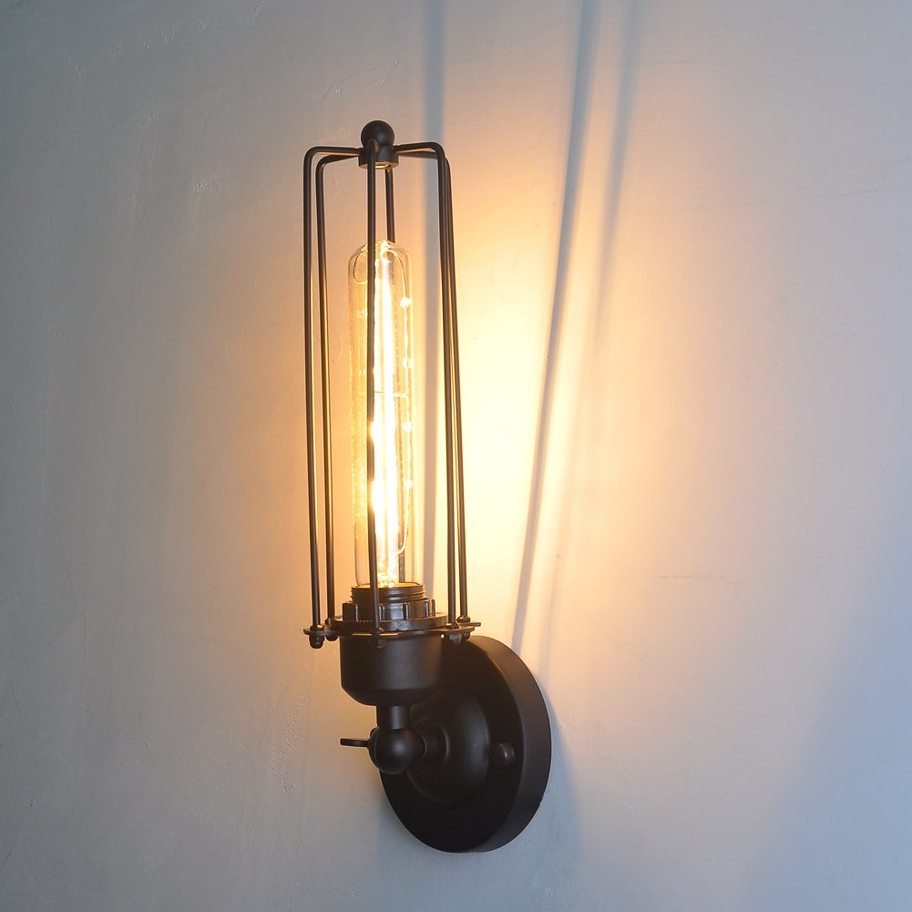 60W Iron Art Vintage Flute Wall Lamp Rustic Decor Lighting Fixtures Indoor Interior Retro Long Tube Bulb Rotatable 180° for Living Room,Dining Room,Corridor,Pathway,Hallway by INHDBOX