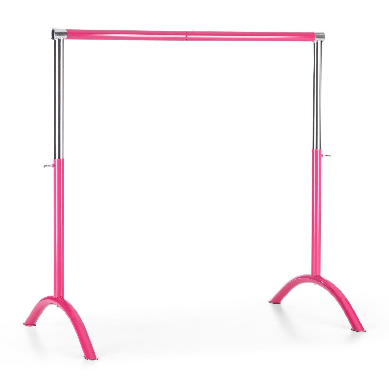 Klarfit Bar Lerina • Ballettstange • Ballet-Bar • Tanz- oder Pilatestraining • Holmlänge 110 cm • höhenverstellbar zwischen 70 cm - 113 cm • Durchmesser: 38 mm • Stahlrohr • freistehend • mobil • stabile Bogenfüße • rutschfest • schwarz oder pink Bogenfüß