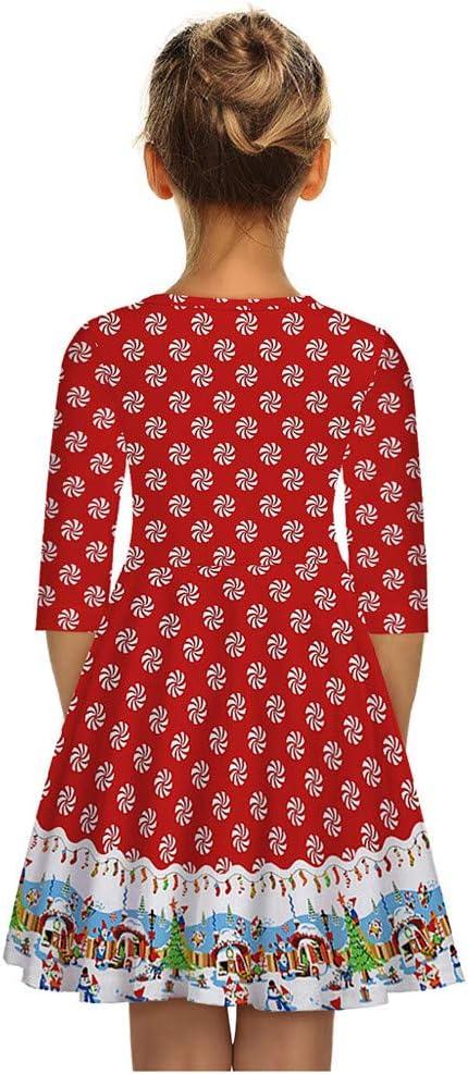 Patifia Weihnachtskleid Kinder M/ädchen Weihnachten Halber /Ärmel 3D Weihnachtsdruck Prinzessin Kleid Partykleid S/ü/ß T-Shirt Knielang A-Linien Kleider Faltenkleid