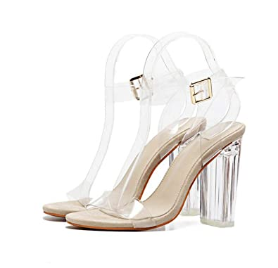4cc33e085b0 Women Ankle Strap Perspex High Heels PVC Clear Crystal Concise Classic  Buckle Shoes