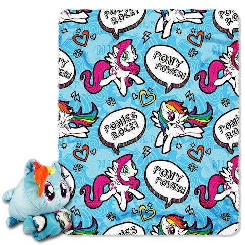 My Little Pony Mush' Um Zip Pillow and Throw Set - Rainbow -