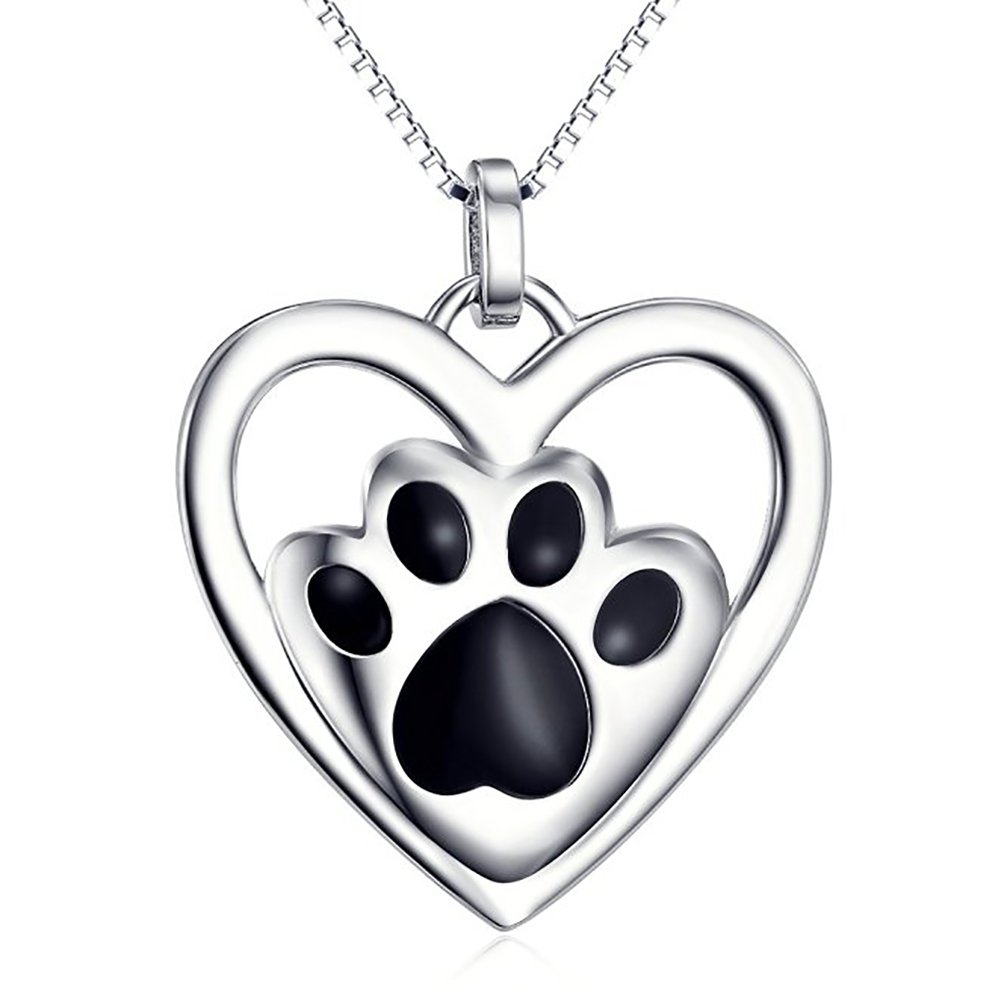 18 inch Box Chain 925 Sterling Silver Puppy Paw Pet Love Heart Pendant Necklace for Women