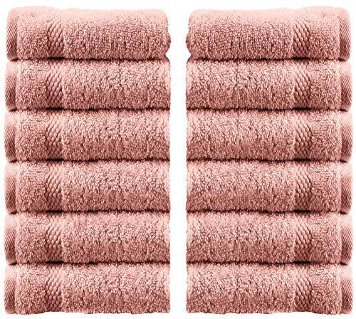 White Classic Luxury Washcloths - Hotel Spa Collection | Circlet Egyptian Cotton | Absorbent Large Bathroom Face Towel | 13x13 Inch | Set of 12 | Pink ()