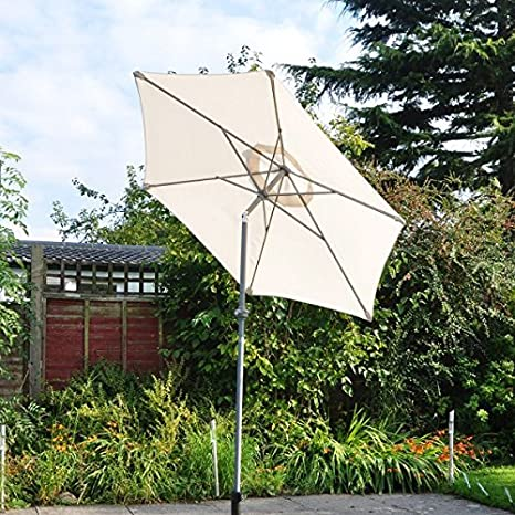 94337f6f4af Kingfisher 2m Cream Aluminium Parasol with Tilt Mechanism  Amazon.co.uk   Garden   Outdoors