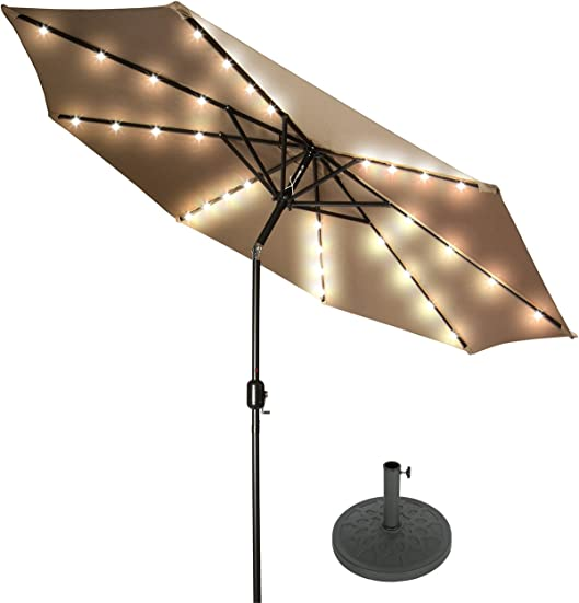 Trademark Innovations 9' Deluxe Solar Powered LED Lighted Patio Umbrella