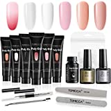 TOMICCA Professional Polygel Nail Kit, 4x30g Polygel Nails Bulider Gel with 2x10ml Top Coat Base Coat and 100pcs Dual Forms Nail File Poly Gel Tools All-in-One Polygel Kit