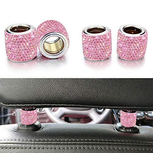 LEIWOOR 4 Pack Car Headrest Collars,Car Head Rest Collars Rings Decor Bling Bling Crystal Diamond Ice for Car SUV Truck Interior Decoration (Pink)