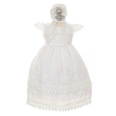 3d256a43d Amazon.com: Rain Kids White Organza Floral Baptismal Dress Baby Girl 12M:  Clothing
