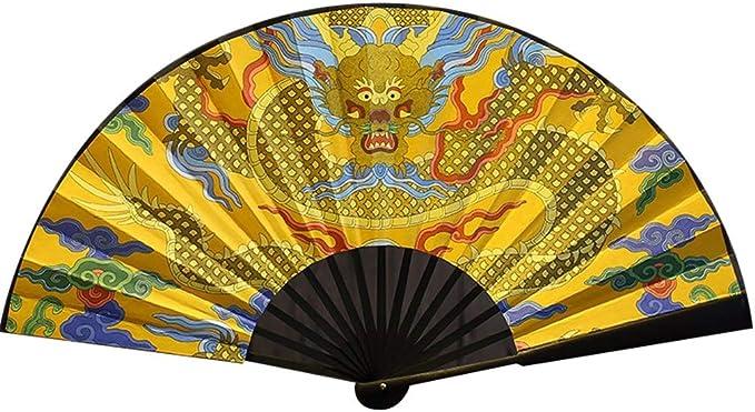 NIANJIAN Estilo Antiguo Creativo Abanico Ventilador Compacto Estilo Chino Clásico Golden Dragon Verano Abanico Plegable Pintura portátil (Golden Dragon Play Beads) (Size : 48cm): Amazon.es: Hogar