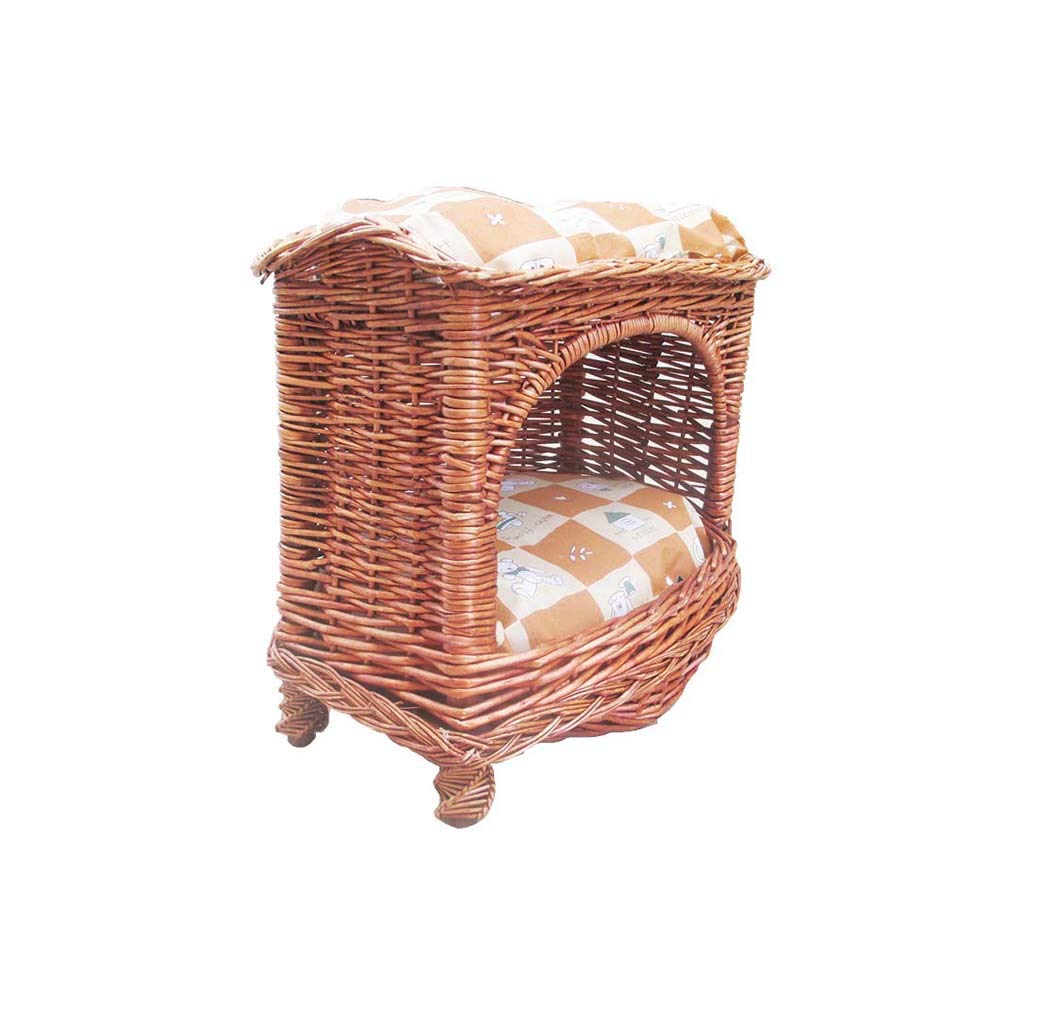 GLMAMK Double Wood Cat Kennels, Wicker Cat Nest Pet Supplies, For Indoor Kitty And Cats