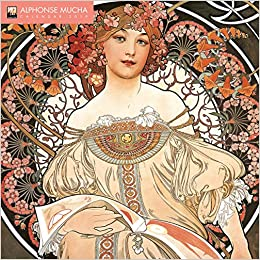 alphonse mucha 2019 12 x 12 inch monthly square wall calendar with glitter flocked cover by flame tree czech art nouveau artist painter illustrator designer