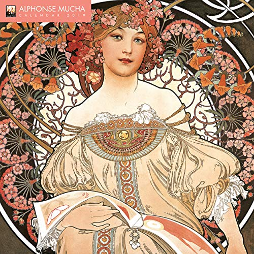 - Alphonse Mucha 2019 12 x 12 Inch Monthly Square Wall Calendar with Glitter Flocked Cover by Flame Tree, Czech Art Nouveau Artist Painter Illustrator Designer