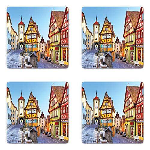 Ambesonne German Coaster Set of 4, Rothenburg ob der Tauber Bavaria Germany Famous Street with Colorful Classic Houses, Square Hardboard Gloss Coasters for Drinks, Taupe Red
