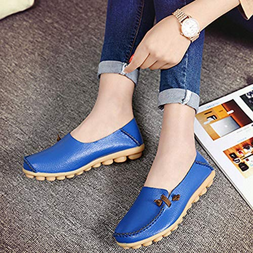 Shoes Comfort Lucksender Womens Royalblue Loafers Leather Soft Driving Yw1PqOx