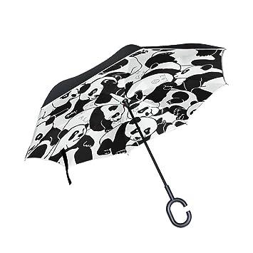 MAILIM - Paraguas Reversible con patrón de Pandas para Coche, Color Blanco y Negro