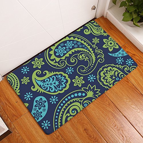 India Slip - YGUII Modern Non Slip India Ethnic Paisley Mango Style Hello Home Bathroom Bath Shower Bedroom Mat Toilet Floor Door Mat Rug Carpet Pad Doormat16X23.6in (40x60cm)(Green Blue)