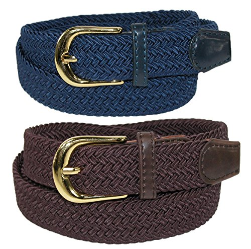 CTM Women's Elastic Braided Stretch Belt (Pack of 2 Colors), Small ()