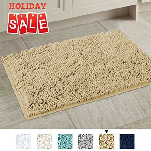 H.VERSAILTEX Ultra Soft Texture Chenille Plush Bath Rugs Floor Mats, Non Slip Hand Tufted Bath Rug Non Slip Microfiber Door Mat for Kitchen/Entryway/Living Room, 32 by 20 inches, (Tufted Rug Floor Mat)