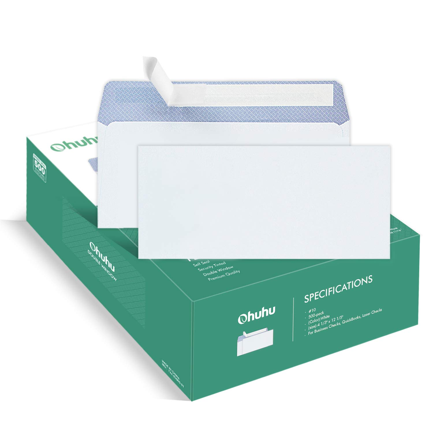 Ohuhu 350#10 Envelopes SELF Seal Business Envelope Windowless Design, Security Tint Pattern for Secure Mailing, Invoices, Statements & Legal Document, 4-1/8 x 9-1/2 inches Mailing Envelopes