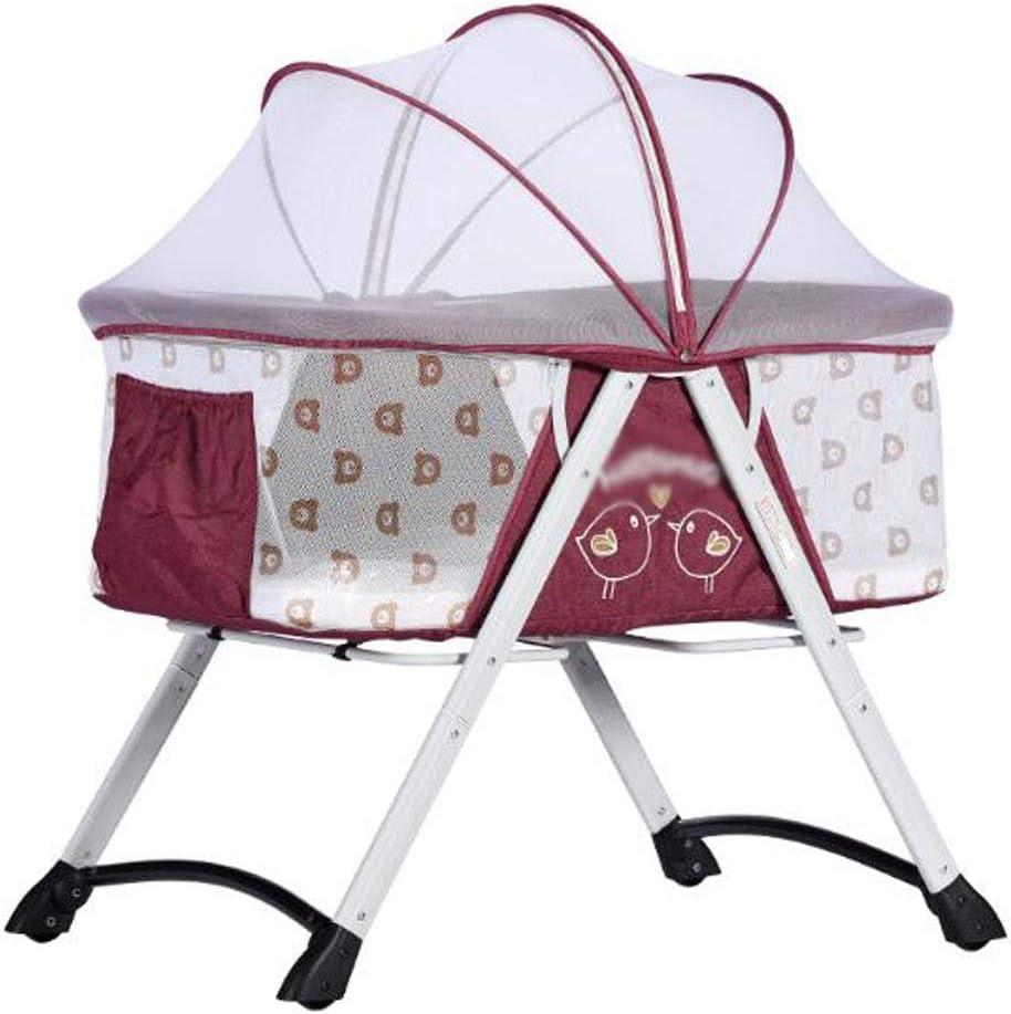 新しいベビーベッドシンプルな折りたたみシェーカー1〜24ヶ月子供用ベッド (Color : Purple)