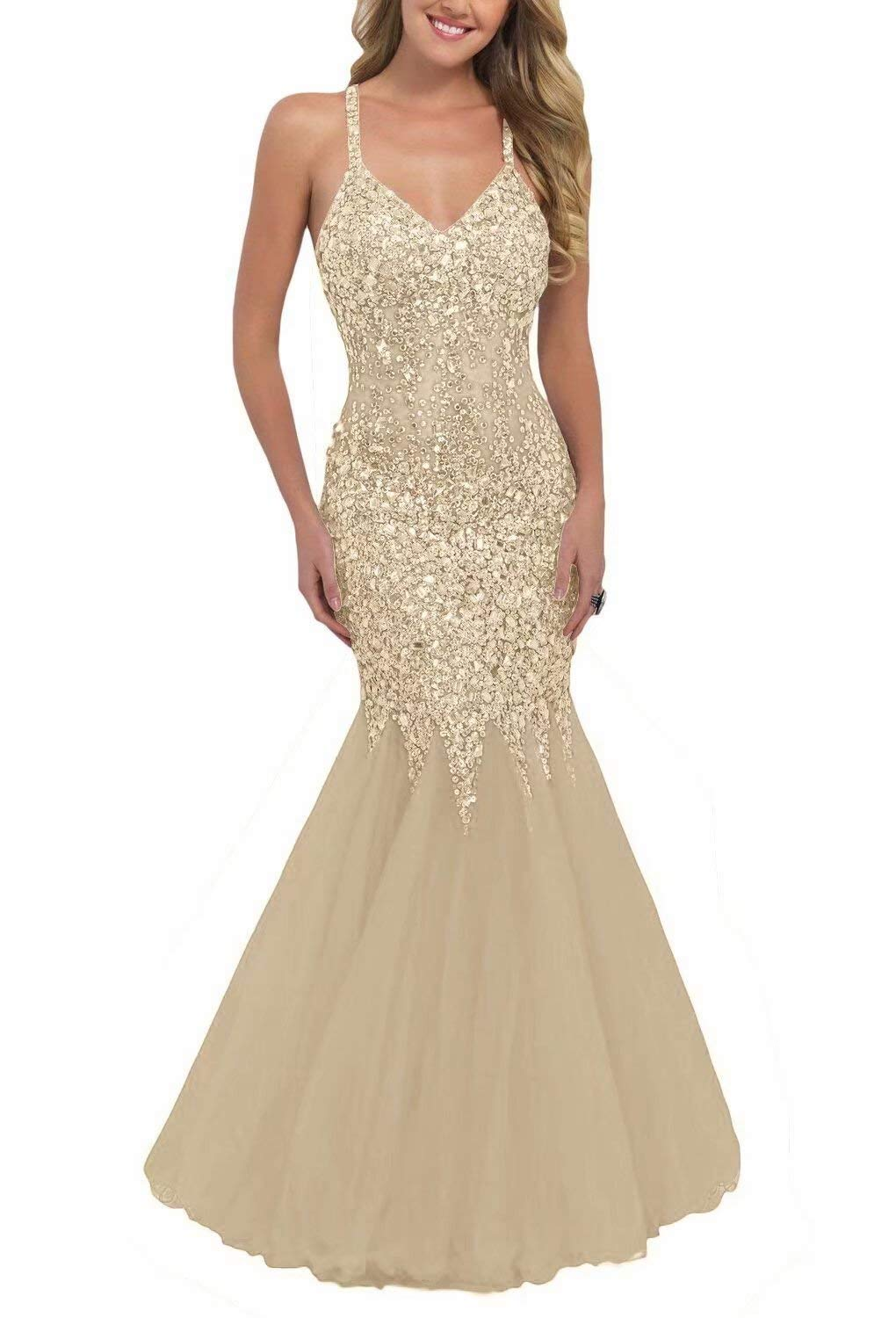 8fe50e27efe83 LovelyBridal Women's Sexy Backless See-Through Mermaid Prom Dresses Long  Evening Gowns .