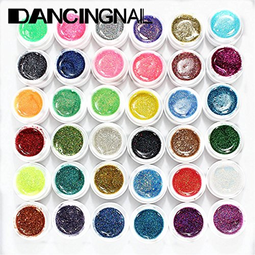 DANCINGNAIL 36 Colors 36PCs Mix Glitter UV Gel Polish Builde