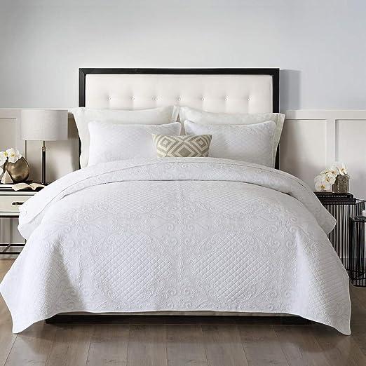 Amazon Com Brandream White Shabby Vintage Bedding Set Queen Size Quilt Set Lightweight Farmhouse Coverlet Set Kitchen Dining