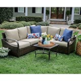Leisure Made 4 Piece Trenton Wicker Sectional, Tan Fabric