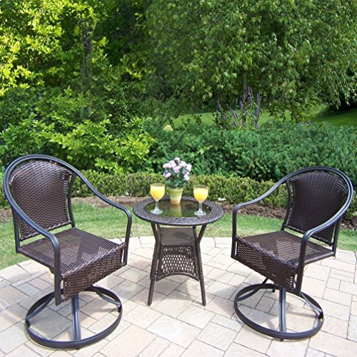 Sedona Bistro - Oakland Living Corporation Sedona 3 Pc. Bistro Set with 2 Swivel Wicker Chairs and 25-inch Side Table