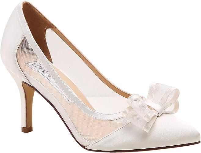 Duosheng & Elegant HC1909 Scarpe da Sposa con Punta a Punta da Donna per Tacchi Alti da Sposa Scarpe da Sposa con Fiocco in Raso