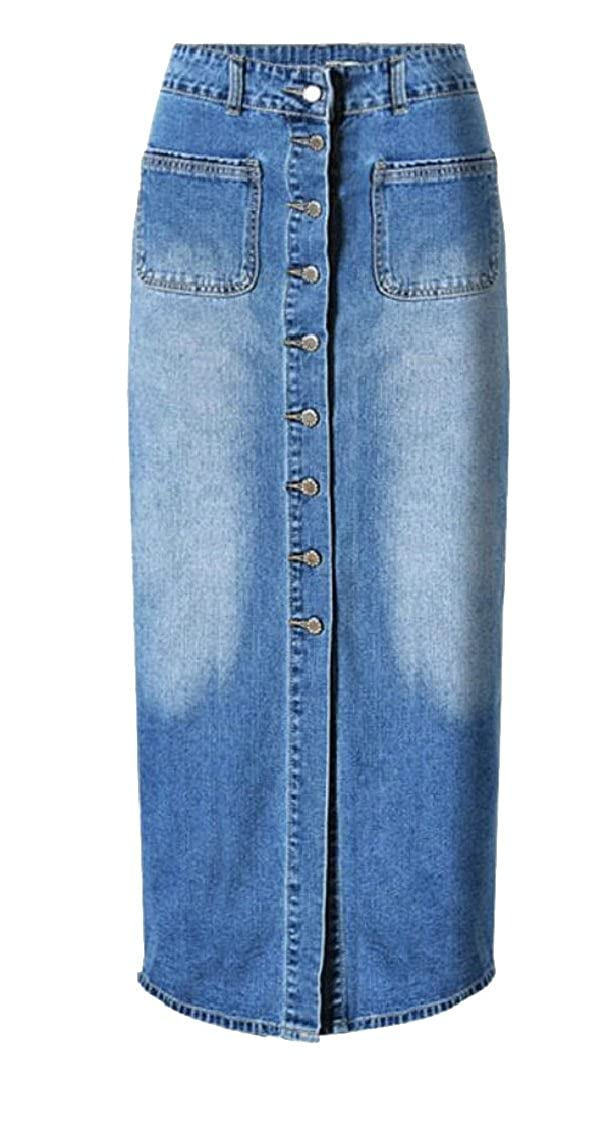 53fe89e0e7b HTOOHTOOH Women s High Waisted A-Line Long Denim Skirts Maxi Pencil Jean  Skirt at Amazon Women s Clothing store