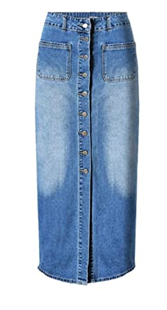 a4c59265c28 HTOOHTOOH Women s High Waisted A-Line Long Denim Skirts Maxi Pencil Jean  Skirt Blue XS