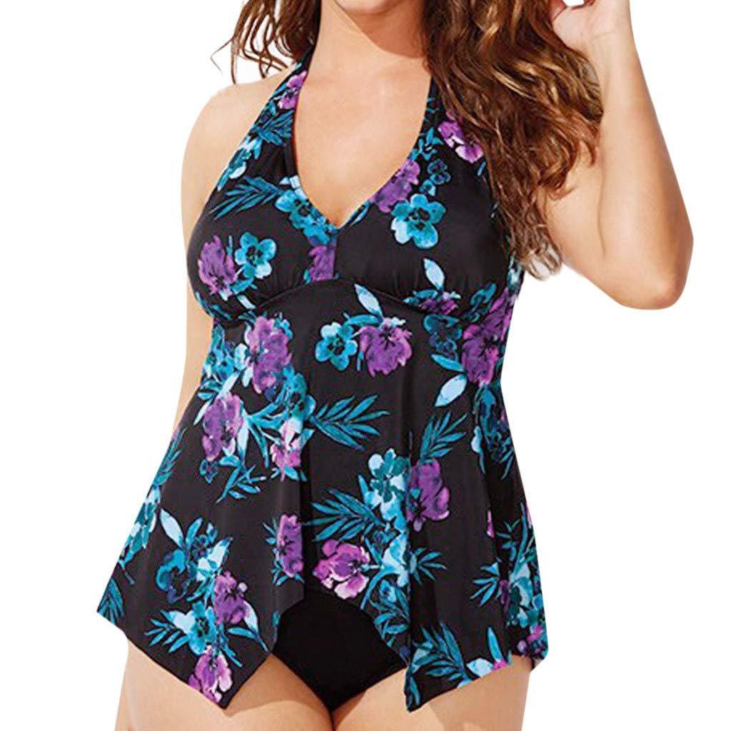 Berimaterry Damen Tankini Bademode Badeanzug Plus Size Blumenmuster Swimsuit Retro V-Ausschnitt High Waist Bikini Set Übergröße Swimwear Bauchweg Two Piece Swimsuits Beachwear