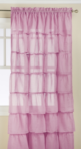 Lorraine Home Fashions Gypsy Shabby Chic Layered Ruffle Window Curtain Panel, 60 by 84-Inch, Lavender
