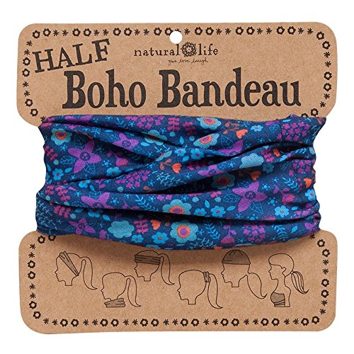 Natural Life Women's Half Boho Bandeau, Purple and Blue Floral Pattern, One Size