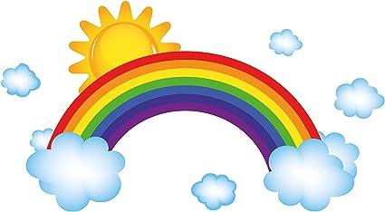 Adesivo murale Camera per bambini Arcobaleno con nuvole e stelle bambini decora