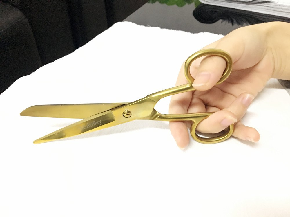 MultiBey 7'' Straight Recycled Stainless Steel Scissors Copper Gold fabric or Paper Shears by MultiBey (Image #4)