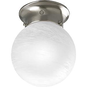 Progress Lighting P3401-09 Ceiling Fixture with White Glass Globe, Brushed Nickel