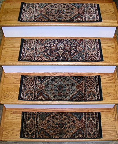 "Rug Depot 152938.2 Traditional Non Slip Carpet Stair Treads - Set of 15 Stair Treads 26"" x 9"" - Multi Background - Rizzy Bellevue BV3199 Navy - Applied with Non-Slip Tabs - Custom Made Stair Treads"