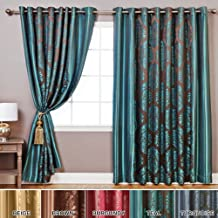 "Best Home Fashion Wide Width Damask Jacquard Curtain - Antique Bronze Grommet Top - Teal - 90""W x 84""L - (1 Panel)"