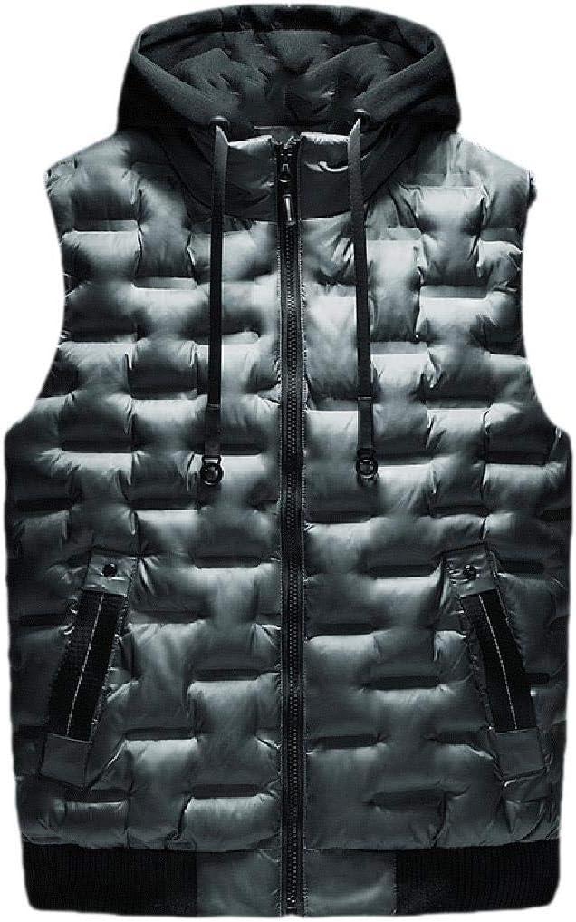 Abetteric Men Fashion Detachable Hood Fall /& Winter Padding Vest Coat